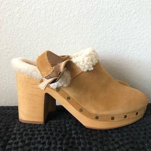 MADEWELL LESLIE SUEDE SHEARLING LINED CLOG…